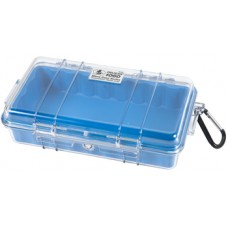 1060 MICRO CASE/clear case with blue liner/Includes: Rubber Liner/Stainless Steel Hardware and Carabiner. Water Resistant, Crushproof.