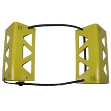 "TRAVEL CHOCKS/6""/Yellow. Heat-treated, powder coat finish. Small for wheel 5.500 or smaller."