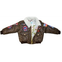 BROWN BOMBER STYLE Jacket with patches youth